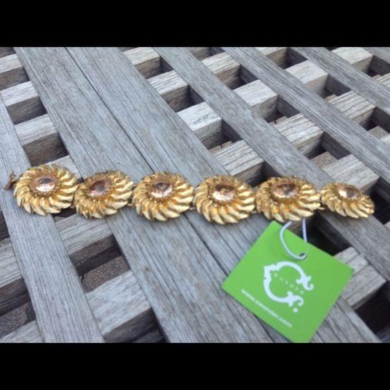 C Wonder Bracelet Floral gold plated bracelet with smokey colored stones! C Wonder Jewelry Bracelets