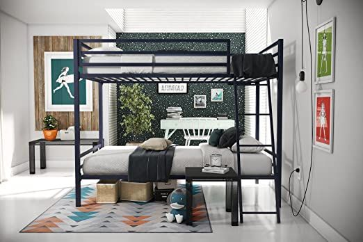 Novogratz Maxwell Twin Twin Metal Bunk Bed Sturdy Metal Frame With Ladder And Safety Rails Navy Blue Metal Bunk Beds Cool Bunk Beds Bunk Beds For Girls Room