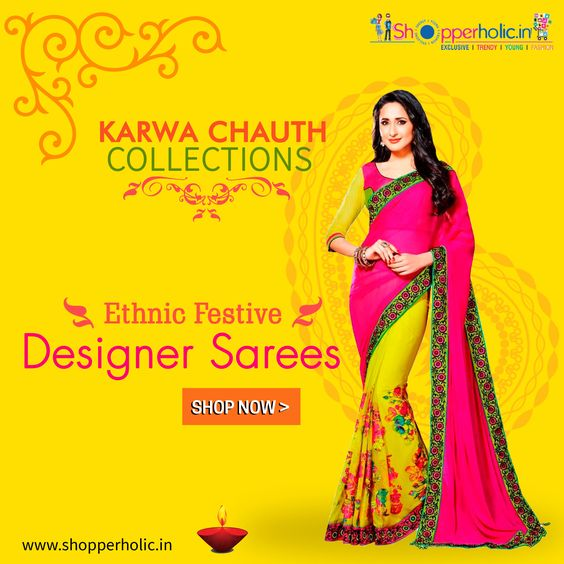 Karwa Chauth Collections: Shop Ethnic Festive Designer Sarees..  https://www.shopperholic.in/ #sarees #karwa_chauth #Offers #Discounts #latest_trends #shopping #online_shopping Shop Now!