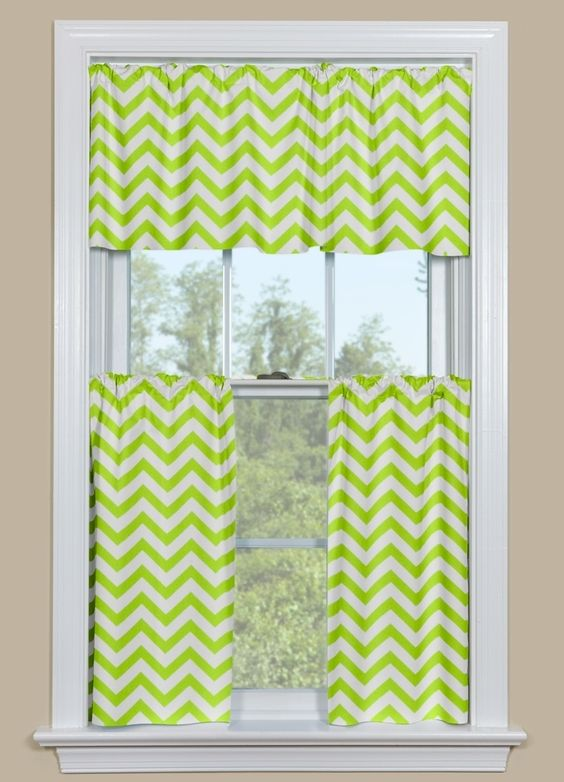 Nice looking Green chevron curtain | Chevron green curtains to get ...