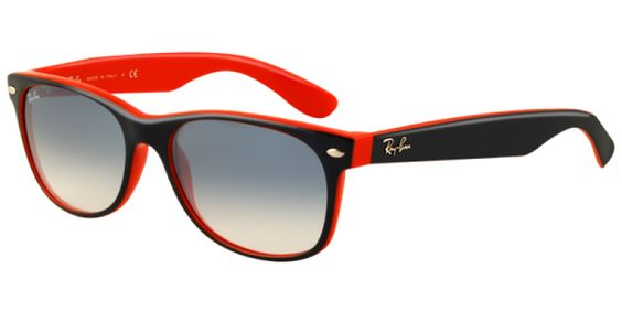 Ray Ban Sunglasses RB2132 789 3F 55mm is designed for unisex and the frame is blue. This style has a large - 55mm lens diameter. The bridge size for this model is 18mm and the side length is standard. #rb2132 #rayban #wayfarer #sunglasses