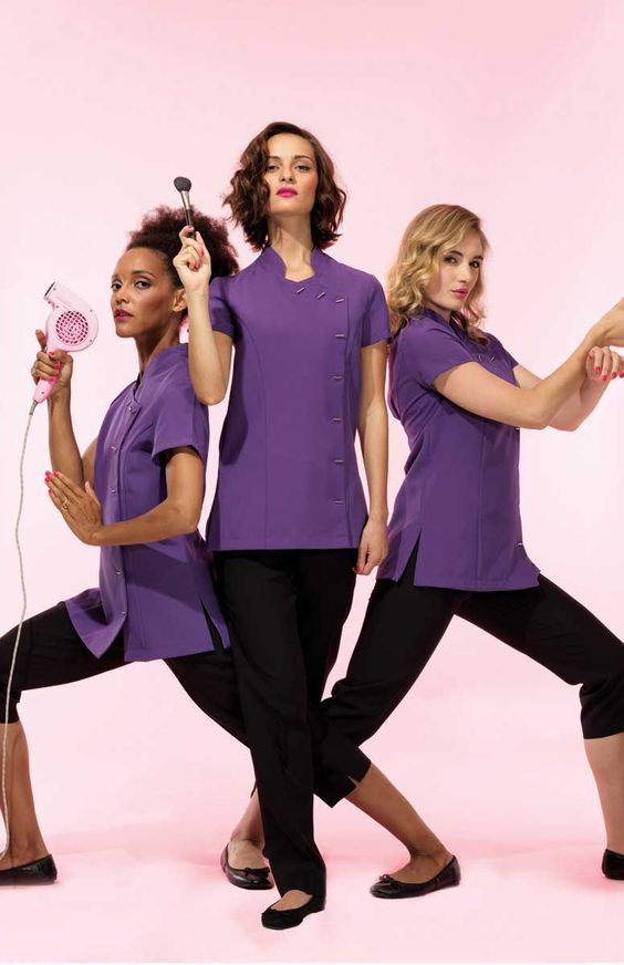 Tunics beauty and the o 39 jays on pinterest for Uniform for spa staff