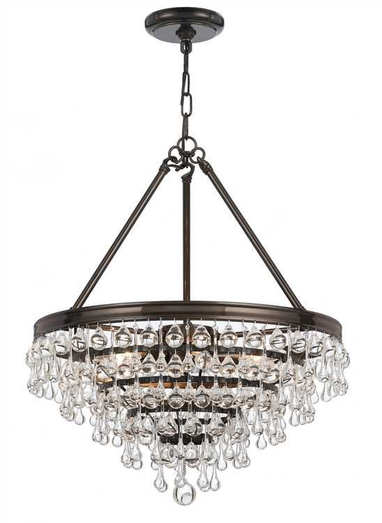 Crystal Teardrops For Chandelier: Crystorama Calypso 6 Light Crystal Teardrop Chandelier in Bronze,Lighting