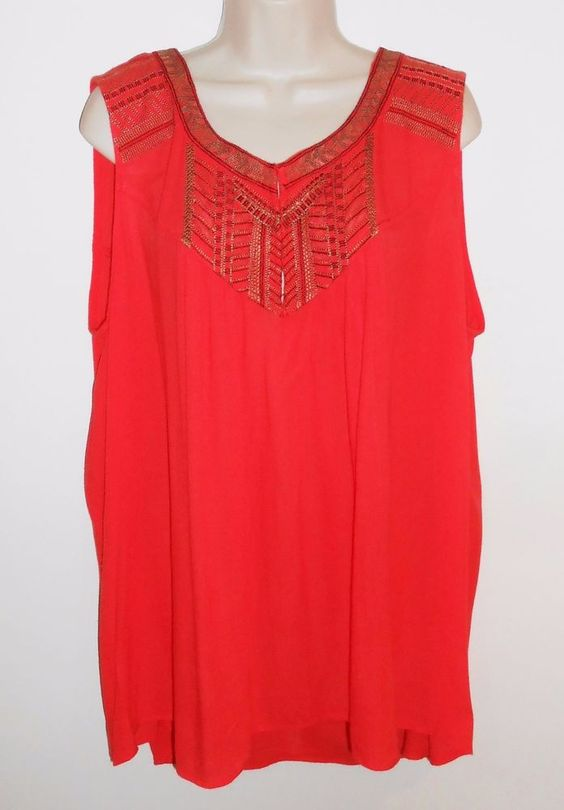 Bobeau Nordstrom 2X Top Embroidered Sleeveless Coral Blouse Lightweight Plus…