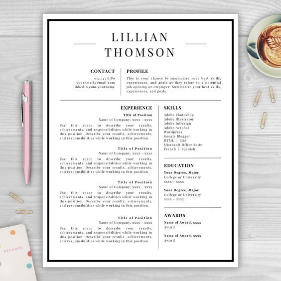 Professional Resume Template for Word \ Pages CV Template - achievements in resume