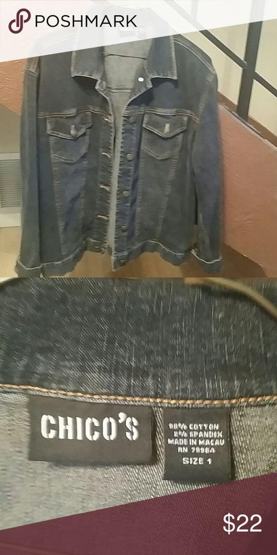Chicos Jean jacket Beautiful dark wash Chicos jean jacket. New condition Chico