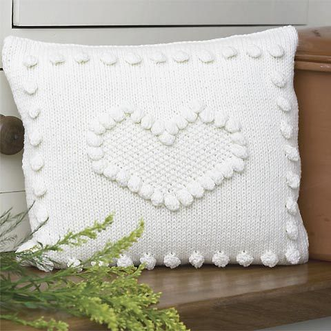 Knitting Pattern Heart Cushion : Knit a bobbled heart cushion: Free knitting pattern @ allaboutyou.com Knitt...