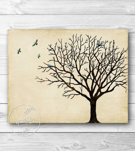 A Wedding Gift Movie : Tree Wall Art Winter Tree Silhouette Vintage by SpoonLily, USD5.00 Art ...