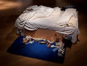 Tracey Emin My Bed, 1998 Mattress, bed linens, pillows, and assorted personal items