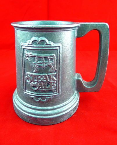 Vintage Steak and Ale Pewter Bar Beer Mug Collectors Item Out of Business Rare Find ** ALL SOLD OUT **  BlingBlinky.com