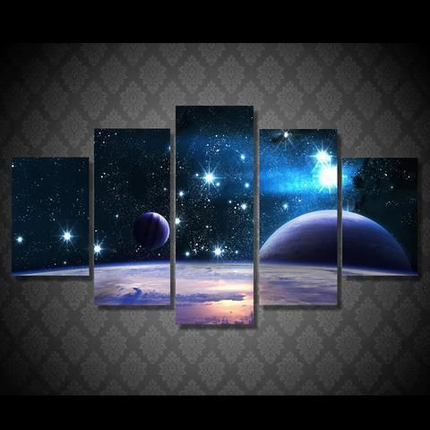 Starry Sky And Planet Space Canvas Wall Art Wall Canvas Canvas Wall Hanging Artwork For Living Room