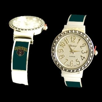 Cuff Watch with Crystal Dot w/Logo.  Personalize with your Business, Association, Charity, College, School or Team Logo!