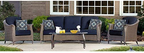 Chic Hanover Gramercy4pc Nvy Outdoor Furniture Gramercy 4 Piece Wicker Navy Blue Patio Seating Set Furniture