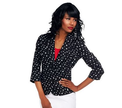 Celestial style. Show off the star you are with this button-front jacket. Featuring 3/4-length sleeves and a starry pattern, it makes a stellar style statement, day and night. From the Joan Rivers Classics Collection(R). QVC.com: