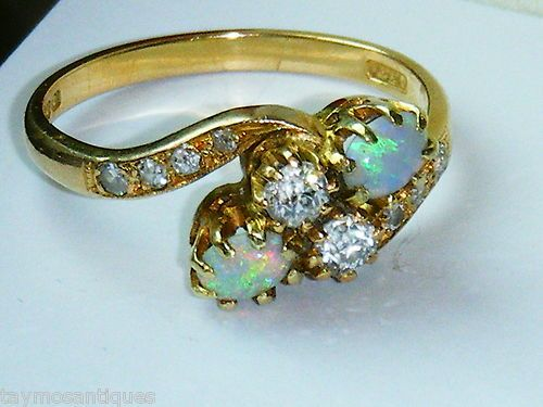 Superb 18ct Gold Vintage Old Cut Diamond Opal Ring Size N | eBay