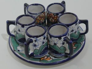 """Mexican Tequila Shot Glasses With Matching Plate, Ceramic (Talavera) Set of 6, Gorgeous Mexican Hand Made Tequila Ceramic (Talavera) Shot Glasses, Set of 6   These glasses are 2 3/4"""" tall and has 1 3/4"""" opening.  They hold 2 oz of tequila! The plate is 7 1/2"""" in diameter.  The plate has the same designs and colors as the matching glasses. (cups)"""