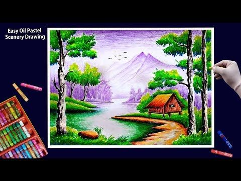 Beautiful Scenery Drawing With Oil Pastels Step By Step Youtube Oil Pastel Art Beautiful Scenery Drawing Drawing Scenery