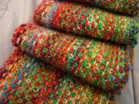 scarf from kool aid dyed scrap yarn. Crochet and knitting Pinterest Koo...