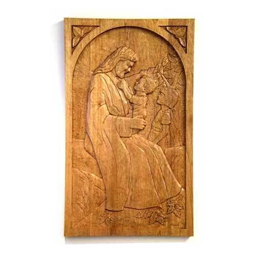 wood carved door design jesus and children door indian