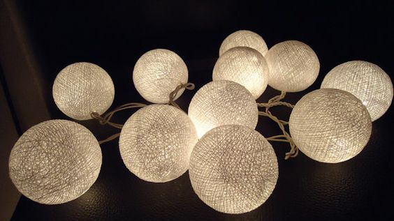 20 White cotton ball lights fairy string lantern by MORELIGHTS, $7.99