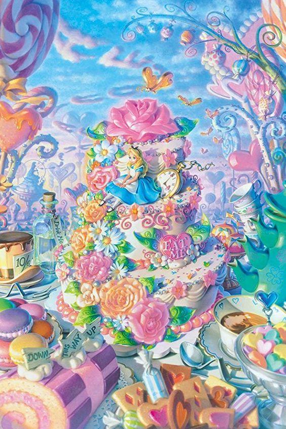 女子向け壁紙アリスケーキ