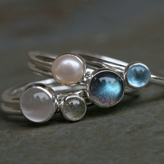 Moonlight on Water, Stacking Rings, Labradorite, Blue Topaz, Pearl, Moonstone, Stackable Rings, Sterling Silver, Stack Rings via Etsy.
