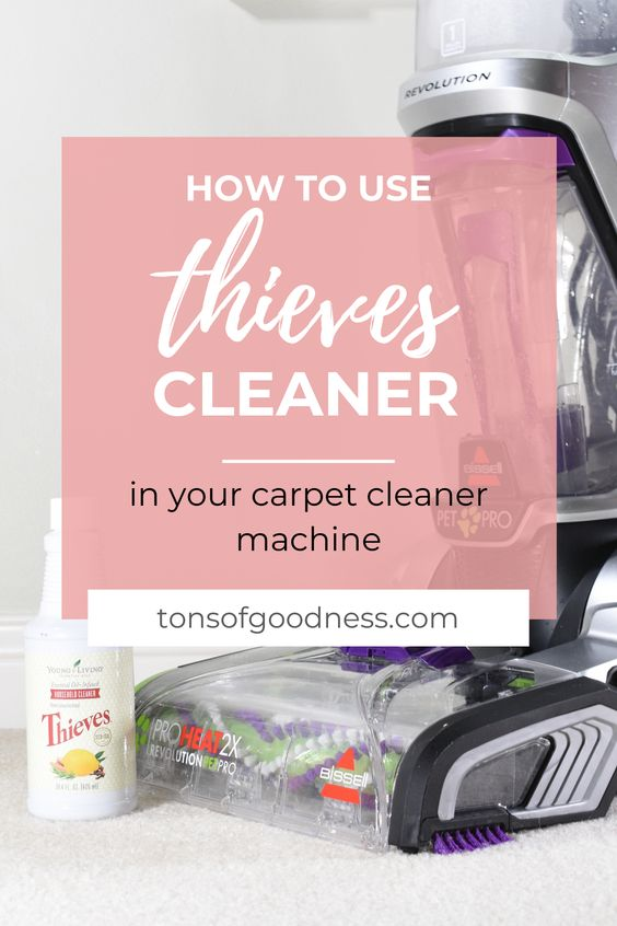 Thieves Household Cleaner has so many uses. I use it in my carpet cleaner machine and it deep cleans my carpets. This is the best natural carpet cleaner that is safe for your whole family.