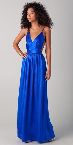 electric blue backless maxi dress