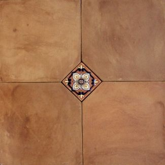 Cut Edge Tierra High Fired Handcrafted Terra Cotta Floor Tile with accent - for the patio!