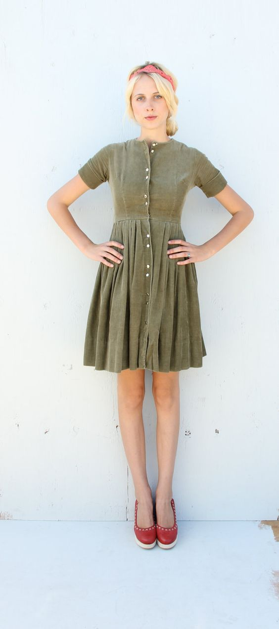 1950s Corduroy Dress / Mossy Green Shirtwaist Dress / small. $48.00, via Etsy. Please please please can I have it?