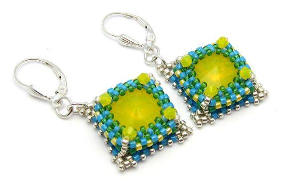 Yellow earrings  yellow beaded earrings  by PembrokeBeadwork