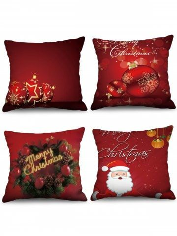 4pcs Merry Christmas Ball Printed Pillow Cover Decorative Pillow Shams Burgundy Decorative Pillows Printed Pillow