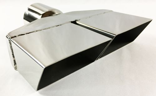 """Exhaust Tip 7.750 X 2.25/"""" Outlet 10.00/"""" Long 2.25/"""" Inlet Rolled Slant Rectangle"""