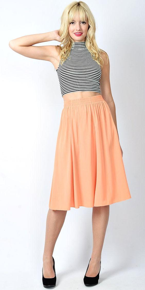 Peach Midi Skirt