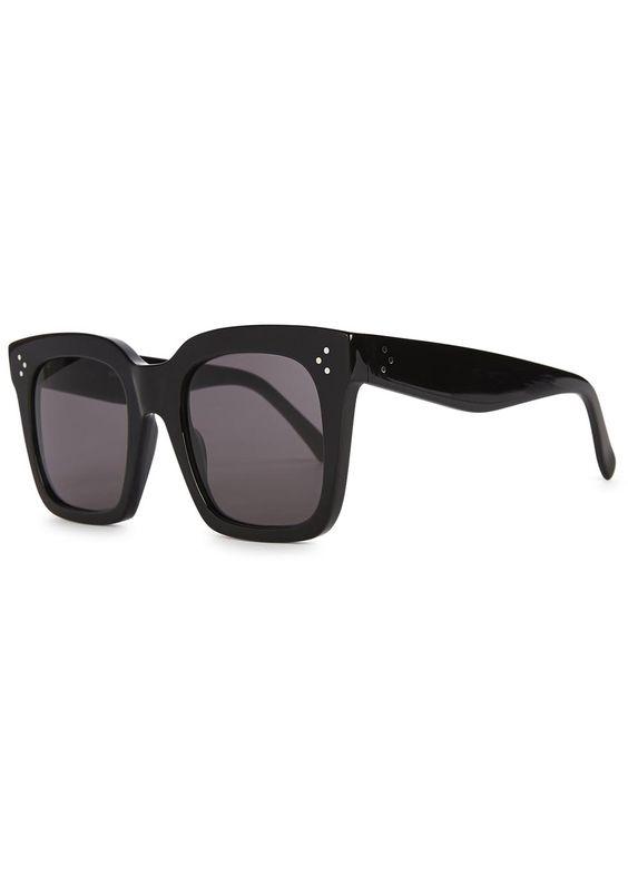 C�line black acetate sunglasses Purple-grey�lenses Designer style code: CL41076/S 807BN 100% UV protection