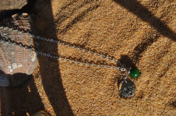 Silver Necklace with Sand Dollar and Green Bead