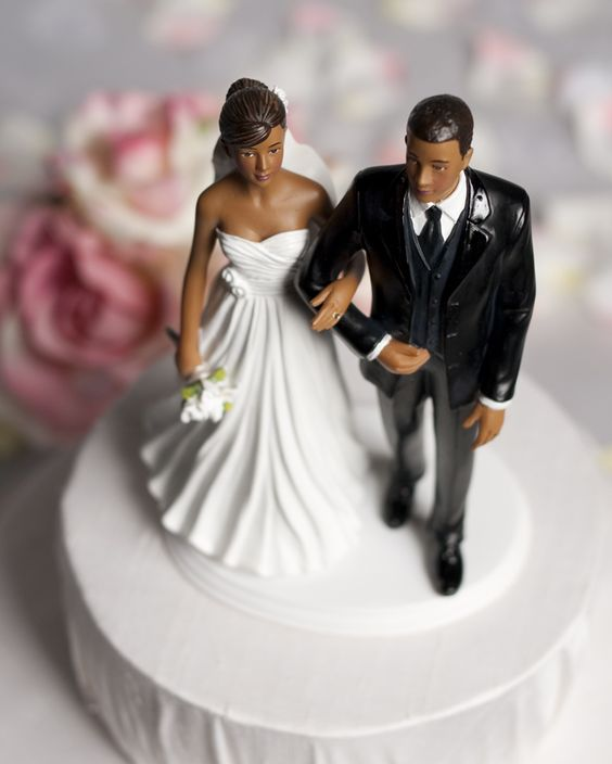 Chic African American Wedding Cake Topper African