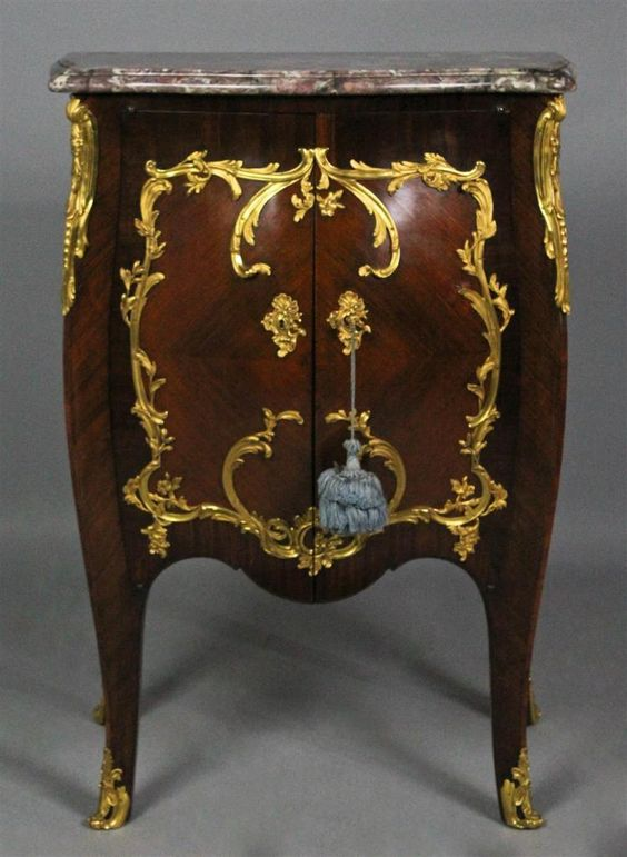 FINE LOUIS XV STYLE ORMOLU MOUNTED KINGWOOD AND MAHOGANY CAB