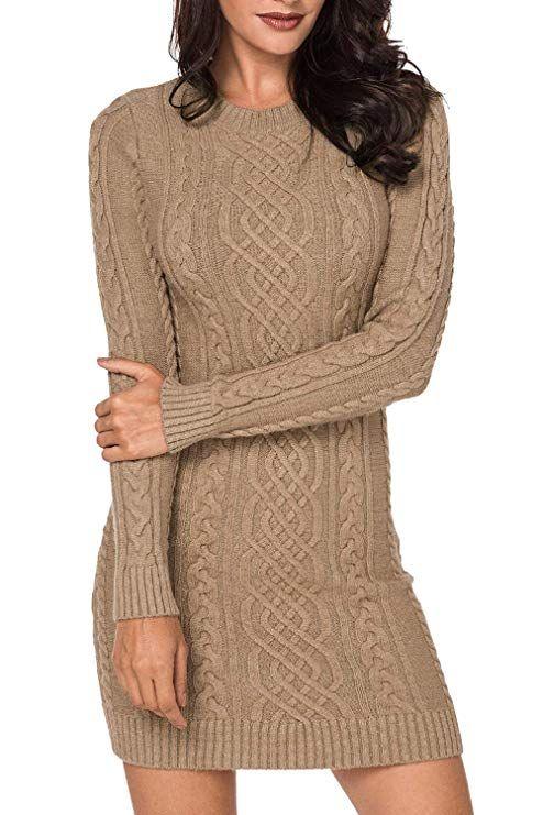 LaSuiveur Womens Slim Fit Cable Knit Long Sleeve Sweater Dress