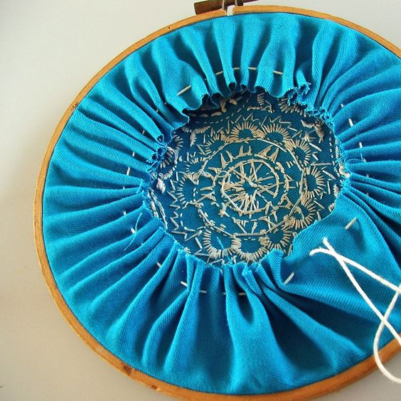 finishing the back of an embroidery hoop without glue.