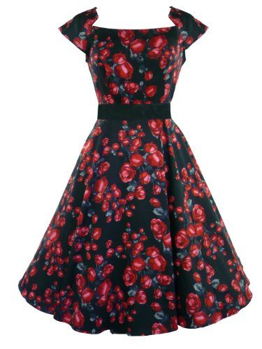 Amazon.com: H&R London 50's Black Red Rose Dress: Clothing