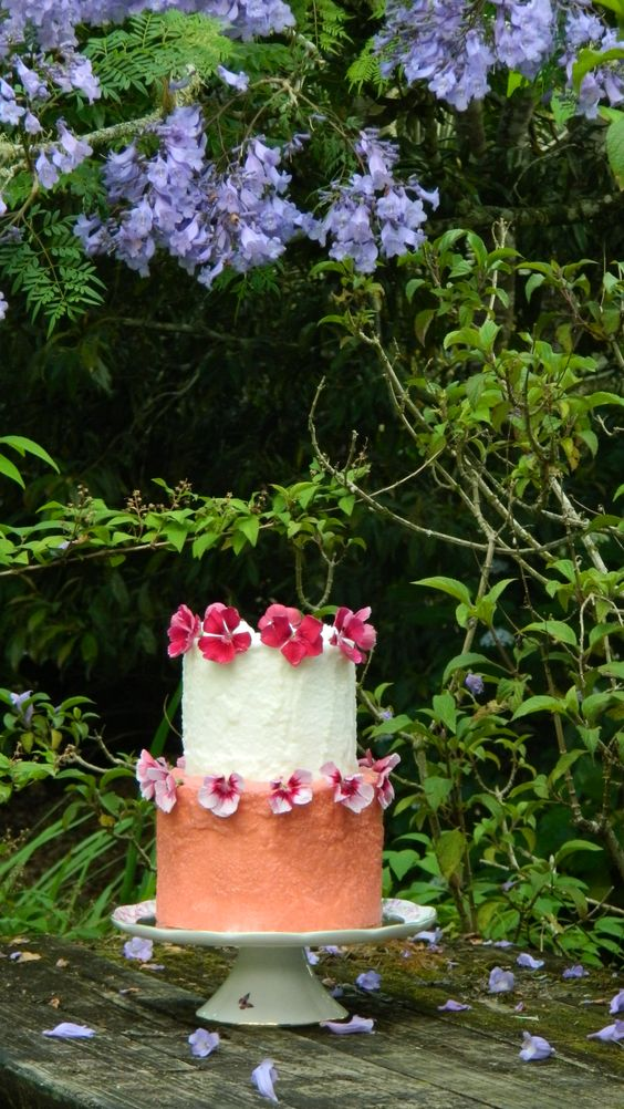 'Pride & Joy Cakes' - Two tiers of moist coconut cake, coated in coconut ice. Decorated with home grown (edible) Dianthus.  https://www.facebook.com/341359299279171/photos/pcb.900230550058707/900230056725423/?type=3&theater