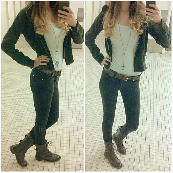 Ombre hair army green jacket black pants brown combat boots