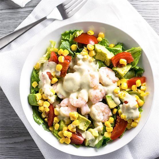 Shrimp Salad with Creamy Pesto Dressing by @homemadehooplah - #KeepOnCooking
