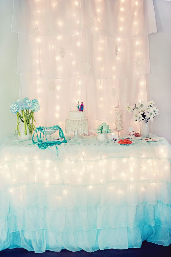 Frozen birthday birthday celebrations and frozen on pinterest for Backdrop decoration for birthday