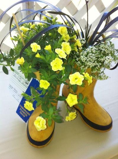 boots as flower pots
