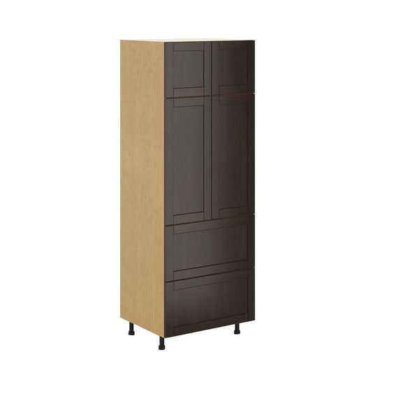 Ready to Assemble 30x83.5x24.5 in. Barcelona 2-Drawer Pantry Cabinet in Maple Melamine and Door in Dark Brown, Melamine Maple