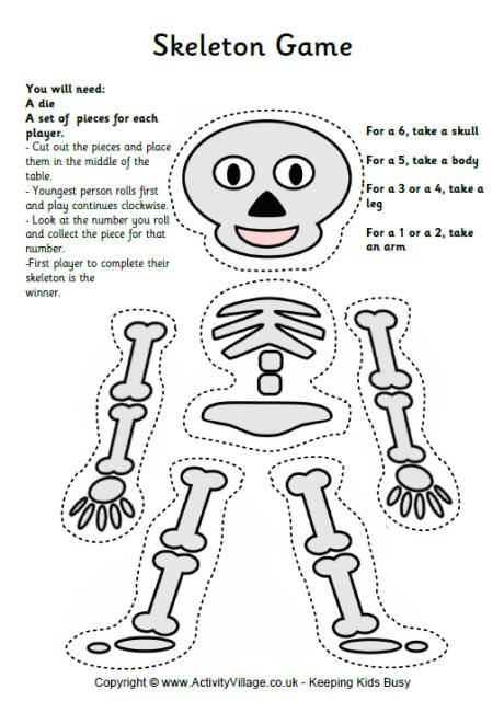 Great concept for teaching about the human body! You could make it more complex with a more accurate skeleton. Rather than a die, have a bag with names of bones and pick up the corresponding bone. This could be done with other systems of the body as well, such as the digestive system.