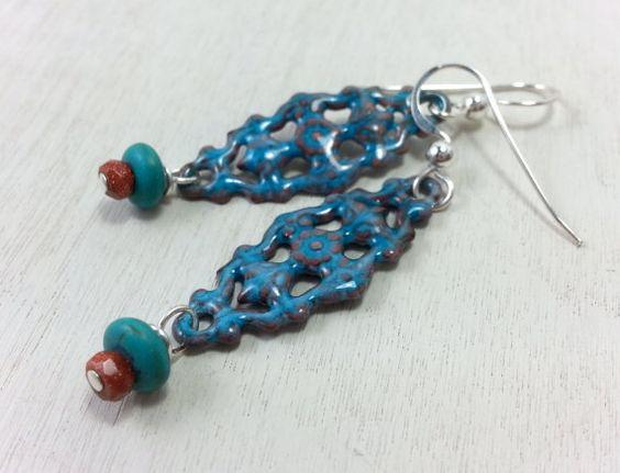 Blue Copper Enamel Earrings / Howlite / Speckled Czech Glass / Sterling Silver