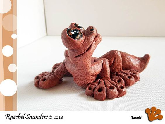 animal sculpture CLAY GECKO 2013 Gecko by RaechelSaunders on Etsy, $75.00